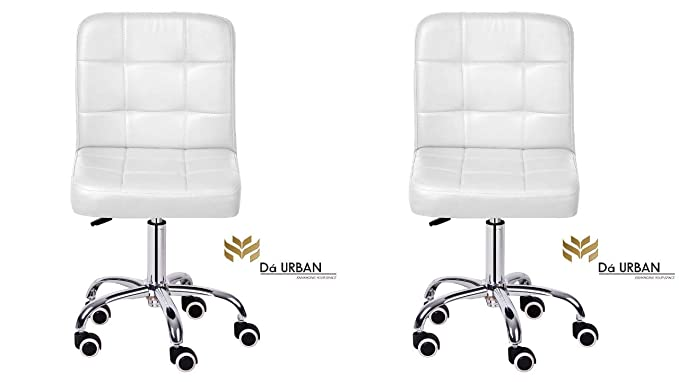 Da URBAN Height Adjustable White Cadbury (Set of 2) Cafeteria & BAR Wheels Stool/Chair (ISO and BIFMA Certified)