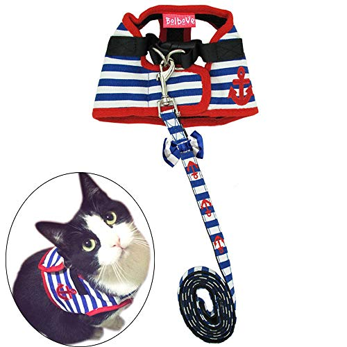 Bro'Bear Adorable Soft Velcro Cat/Dog Safety Walking Mesh Sailor Vest Harness + Matching Lead Leash Set(Can Be Pet & Kitty & Puppy Car Vehicle Seat Harness/Halloween Classics Collection Costume/Photo Apparel/Holiday -