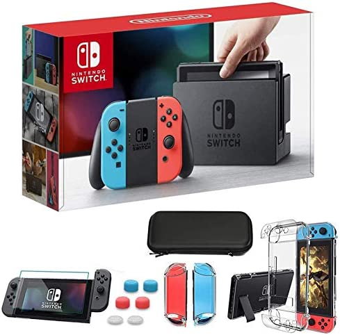 "Newest Nintendo Switch 32GB Console with Neon Blue and Neon Red Joy-Con, 6.2"" Touchscreen 1280x720 LCD Display, 802.11AC WiFi, Bluetooth 4.1, Bundled with TSBEAU 9 in 1 Carrying Case Accessories"