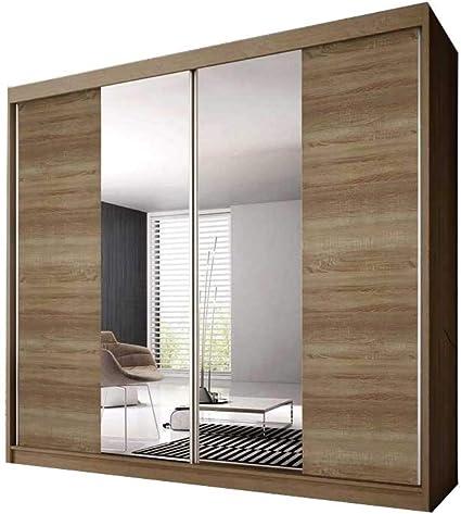 E-MEUBLES - Armario de Dormitorio con 2 Puertas correderas   Armario (Barra) con estantes (Ancho x Alto x Profundidad): 203 x 218 x 61 Ben 36: Amazon.es: Hogar