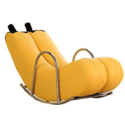 GJM Shop Single Lazy Sofa Banana Lounge Chair Rocking Chair Lovely PU  Recliners Blue/Green