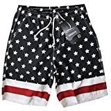 Prefer To Life Board Shorts Men's Swimwear Outdoor Swimming Trunks,USA Flag Strips Star Artwork,Swim Trunks Your Home Outdoor Travel Surfing (XL Size,Black White Red Color)