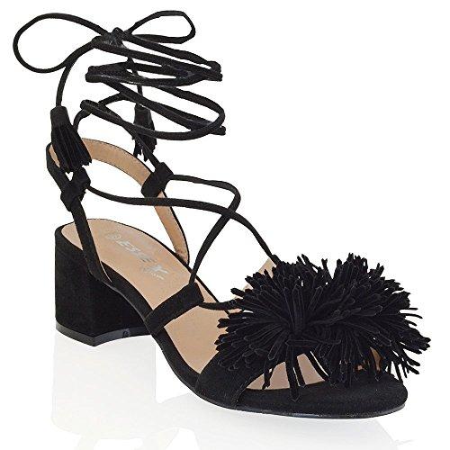 4233932bffb Essex Glam womens block heel faux suede tie up fringe low heel sandal shoes  chic