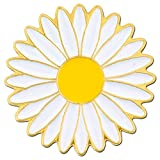 PinMart's Cheerful White and Yellow Daisy Flower Enamel Lapel Pin