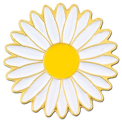 White Enamel Flower Pin (PinMart's Cheerful White and Yellow Daisy Flower Enamel Lapel Pin)