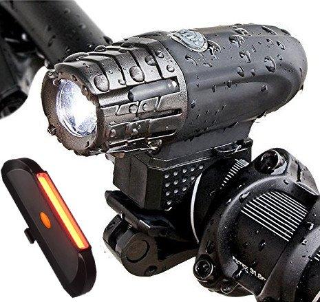 16 opinioni per SOOJET BFR-03 Luci per bicicletta 300 Lumen, USB Ricaricabile, impermeabile,