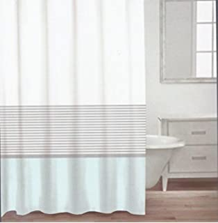 caro home fabric shower curtain teal white and silver stripe