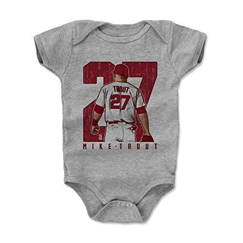 500 LEVEL Mike Trout Baby Clothes, Onesie, Creeper, Bodysuit 3-6 Months Heather Gray - Los Angeles Baseball Baby Clothes - Mike Trout Clutch R