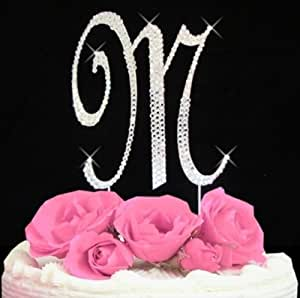 Amazoncom 1 X Rhinestone Cake Topper Letter M by Other Kitchen