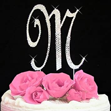 1 x rhinestone cake topper letter m by other