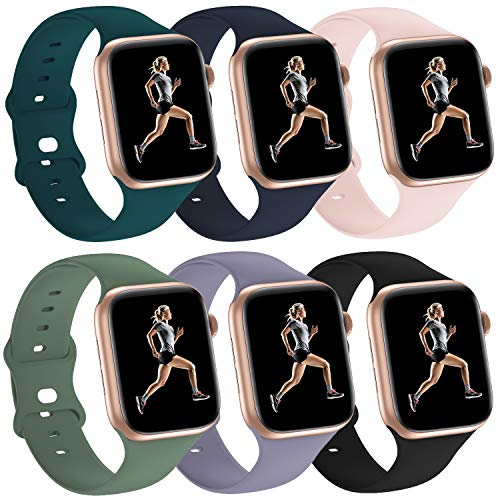 Silicone Sport Bands Compatible with Apple Watch Straps 38mm 40mm 42mm 44mm Strap Wristband for Series 6/5/4/3/2/1 Women & Men (Pine Green/Cyprus Green/Black/Lavender Gray/Pink Sand/Midnight Blue, 38mm 40mm)