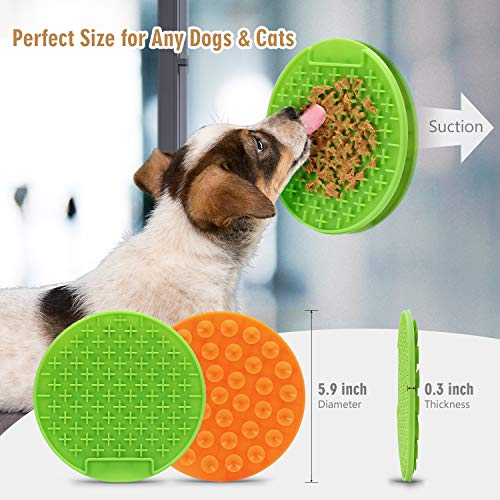 KASBAH Pet Licking Mat for Dogs, 2 Pack Pet Lick Mat, Slow Feeder Licking Mat with Strong Suction, Boredom Buster Dog Distraction Device for Bathing and Grooming, Peanut Butter Treat Mat,Green Orange