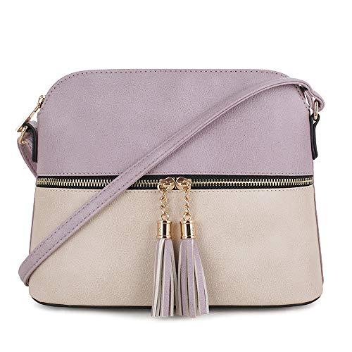 SG SUGU Lightweight Medium Dome Crossbody Bag with Tassel | Zipper Pocket | Adjustable Strap (Lavender/Beige) ()