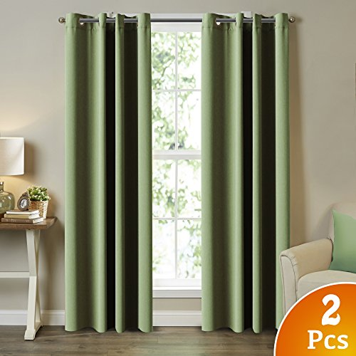 (2 Panels) Solid Blackout Drapes, Sage, Themal Insulated, Grommet/Eyelet Top, Nursery & Infant Care Curtains Each Panel 52