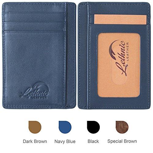 Lethnic slim wallet rfid front pocket minimalist wallet with id window genuine leather