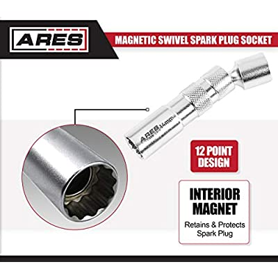 ARES 11000-14mm Thin Wall Magnetic Swivel Spark Plug Socket - 3/8-Inch Drive 12-Point Spark Plug Socket - Walls 2mm Thinner Than Standard Spark Plug Sockets: Automotive