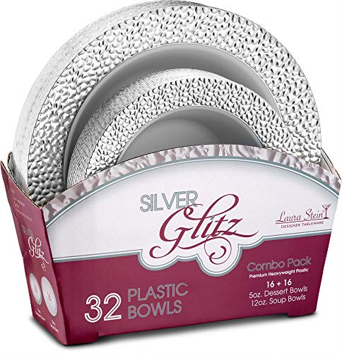 (Laura Stein Party Bowls Glitz series Set of 32 Elegant Disposable Dinnerware Combo Set White Bowls With Silver Border Includes 16-5oz Dessert Bowls + 16 12oz Soup Bowls for Birthdays, Weddings,)
