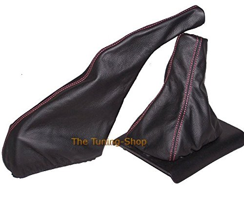 The Tuning-Shop Ltd F/ür Seat Ibiza Cordoba Cupra 1993 1999/Gear Handbremsmanschette schwarz Italienisches Leder Naht Rot