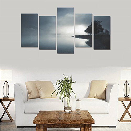Unique Landscape Art Oil Painting Decoration Nature Lake Landscape Custom 100% Canvas Material Canvas Print Bedroom Wall Art Living Room Mural Decoration 5 Piece Canvas painting (No Frame) by sentufuzhuang Canvas Printing