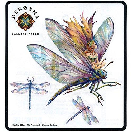Peacemonger Bergsma Dragonfly Fairy Art Decal Window -