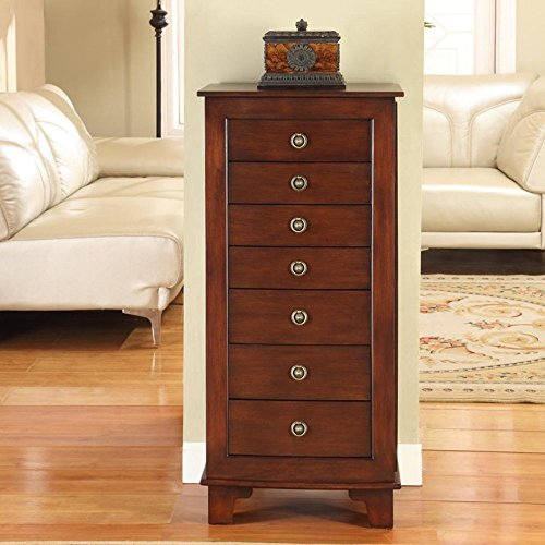 Nathan Direct Cayman 7 Drawer Lockable Jewelry Armoire with 2 Side Compartments and a Lift-Top Compartment with Mirror and Ring Holders, Antique Brown