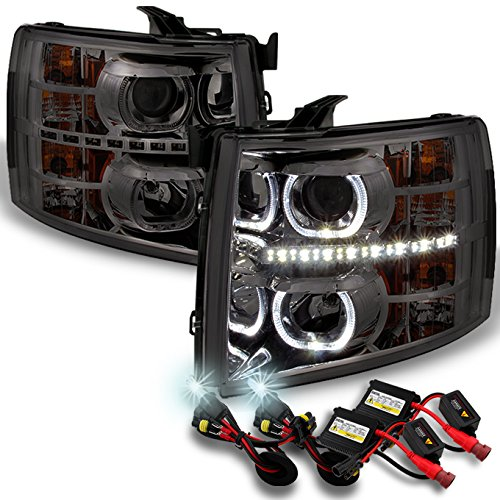 For Chevy Silverado Pickup SmokeExclusive Halo Projector LED Headlights + Slim Ballast 6K HID Kit -