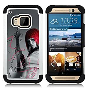GIFT CHOICE / Defensor Cubierta de protección completa Flexible TPU Silicona + Duro PC Estuche protector Cáscara Funda Caso / Combo Case for HTC ONE M9 // Punk Rock Red Head Girl //