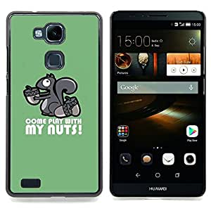- Cute Play With My Nuts Squirrel/ Hard Snap On Cell Phone Case Cover - Cao - For HUAWEI Ascend Mate 7