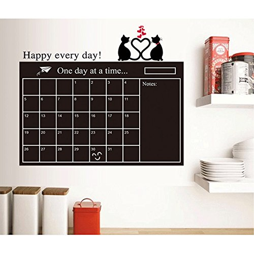 Large Decal Chalkboard Memo Wall Sticker Removable Weekly Monthly Memo Background Organizer Wall Calendar