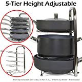 BTH Height Adjustable Pot Pan Organizer Rack 5-Tier: 10, 11 & 12 Inch Heavy Duty Kitchenware Cookware Pot Rack Holder Kitchen Cabinet Countertop Stainless Steel Storage Solution