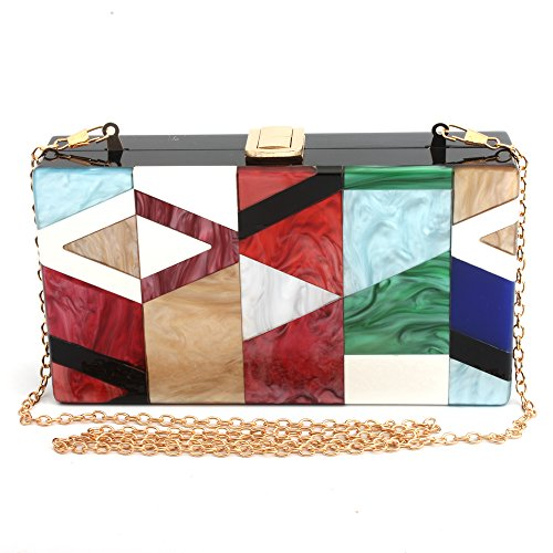 LETODE Geometric design of elegant female colored acrylic clutch gold chain bag (GREEN)