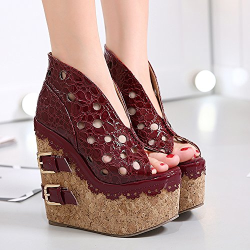 Out Slip Sandals Peep Buckle Foam On with Wedges fereshte Wine Red Toe Women Heel High Hollow Platform Double for Super tqdvgv7wC
