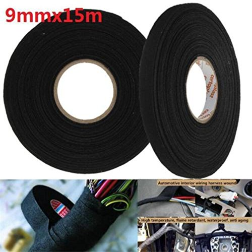15m x 9mm x 0.3mm Black Adhesive Cloth Fabric Tape Cable Looms Wiring Harness - Wiring Loom Cloth