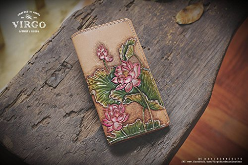 Lotus hand tooled wallet for women | Personalized Vintage vegetable tanned leather handmade wallet by Virgo Handmade Leather
