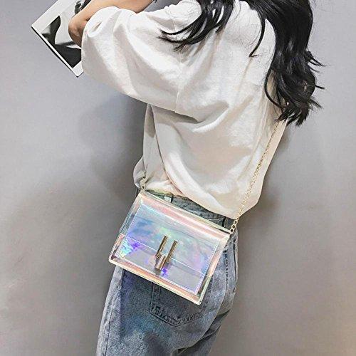 17X12X6cm Bandoulière Mode Sacs à Crossbody Main Argent d'été UEB Sac PVC Chain Transparent Bag Messenger Plage Femmes Crossbody à qCwWptT1
