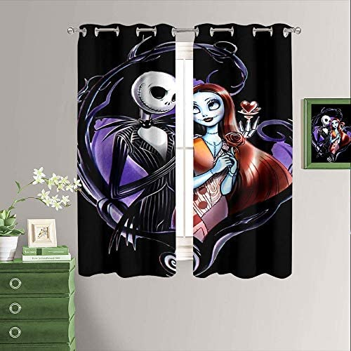 Window Curtains Blackout Drapes The Nightmare Before Christmas Room Darkening Curtain/Panel