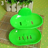 Display08de salle de bain solide Ventouse double couches Soapbox Savon égoutter support Porte-savon