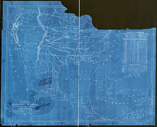 Vintography 18 x 24 Blueprint Style Reproduced Old Map 1854Diagram The United States America, Mexico, The West India Islands Isthmus Darien W. T. Steiger, General Land Office Steiger, W.