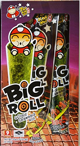 Tao Kae Noi Big Roll Grilled Seaweed Roll 9 Packets Per Box, (32.4 g) - 3 Boxes (BBQ Sauce Flavour)