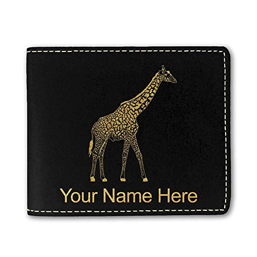 Black Giraffe Wallet - Faux Leather Wallet - Giraffe - Personalized Engraving Included (Black)