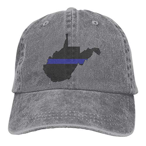 MZ5OK61 Unisex Baseball Cap West Virginia Tattered Thin Blue Line Flag Cotton Denim Dad Hat Adjustable Fashion Sports Cap