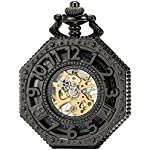 SEWOR Octagon Skeleton Pocket Watch with Chain, Halloween Style Steampunk Mechanical Hand Wind 7