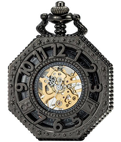 SEWOR Octagon Skeleton Pocket Watch with Chain, Halloween Style Steampunk Mechanical Hand Wind 3
