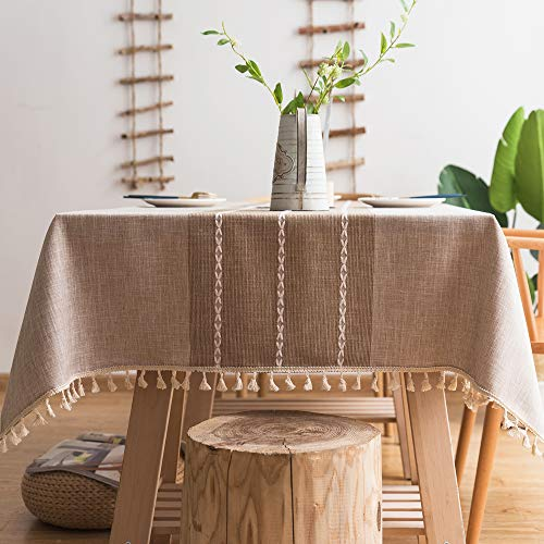 - Pahajim Linen Rectangle Tablecloth Table Cloth Heavy Weight Cotton Linen Dust-Proof Table Cover for Party Table Cover Kitchen Dinning (Coffee, Rectangle/Oblong,55 x 87 Inch)