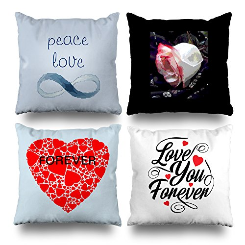ONELZ Forever Love Square Decorative Throw PillowCase Two Sides Printed, Fashion Style Zippered Cushion Pillow Cover (18 x 18 inch,Set of 4)