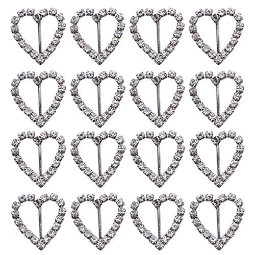 (JETEHO Pack of 50 Sweet Heart-Shaped Silver Tone Diamante Crystal Rhinestone Buckle Chair Sash Ribbon Slider for Wedding Invitation Letter,20x21mm)
