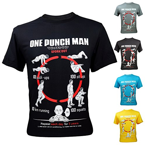 Mens-One-Punch-Man-Saitama-Workout-Training-To-Be-Bald-Funny-T-Shirt