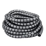 uxcell 20mm x 10m Flexible Spiral Tube Cable Wire Wrap Computer Manage Cable Gray