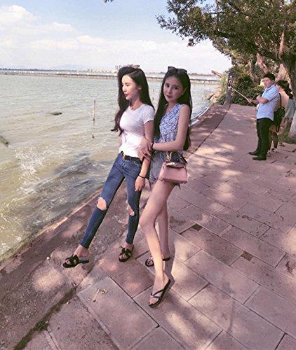 Spiaggia Sul Qingchunhuangtang Piatto Nero Flip Flip Della Con e Flop Flop Fondo Il blu YYrq8Av