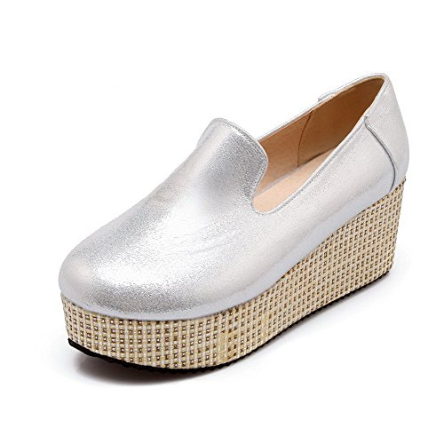 Odomolor Women's Pull On Round Closed Toe Kitten Heels Blend Materials Solid Pumps-Shoes Silver DV0VYUb